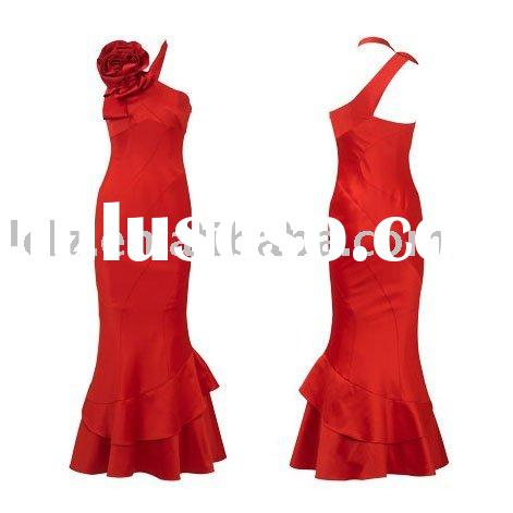 fashion mermaid one-shoulder real silk red prom dress DH183