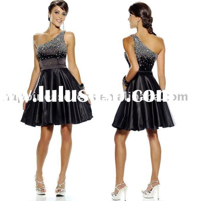 fashion short beaded one shoulder satin prom dress P218