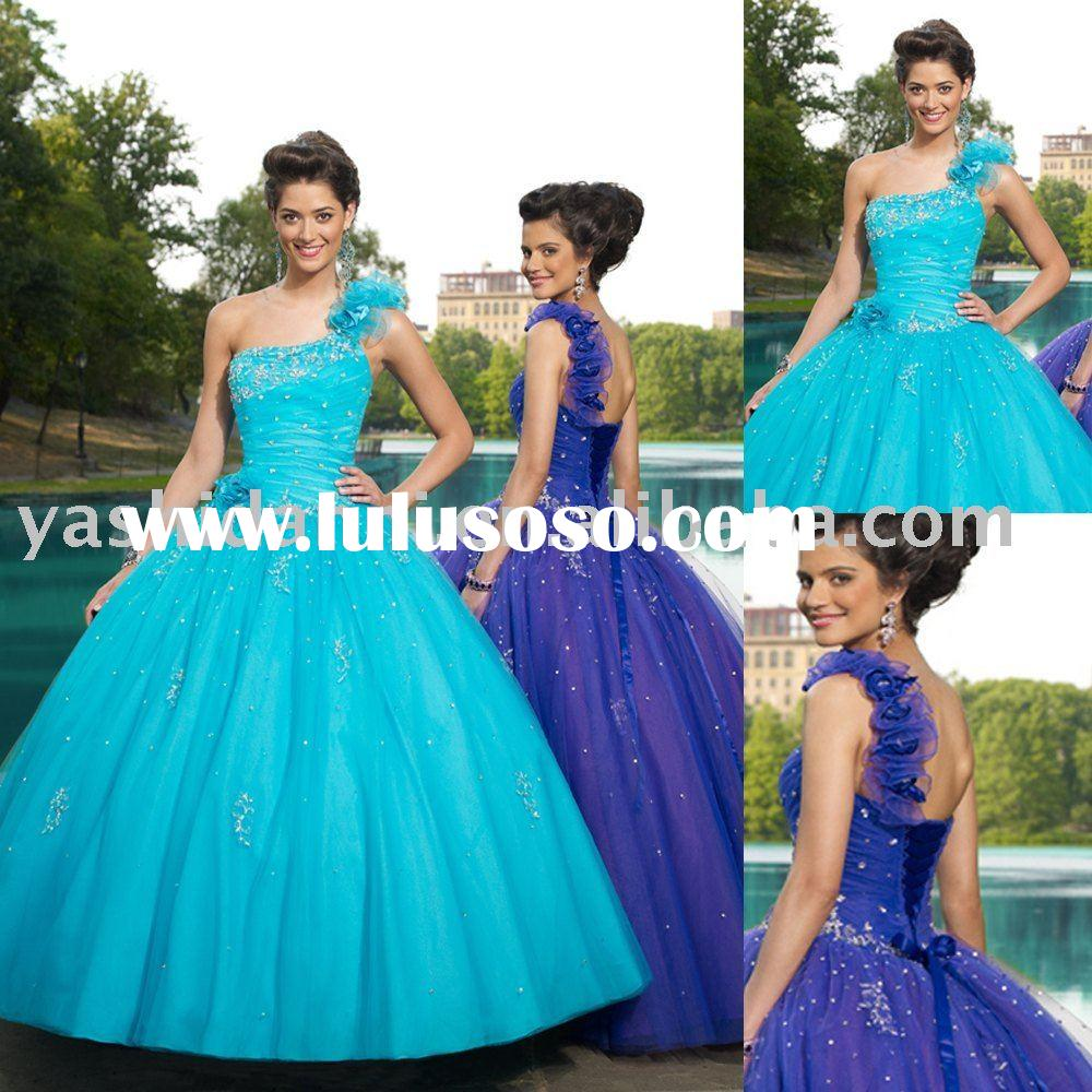 full-length beaded One-Shoulder Ball Gown prom dress