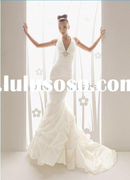 new designer backless halter strap mermaid style wedding dress AIW-105