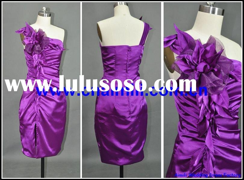 purple short beaded prom dress-D5