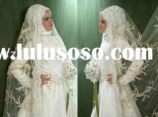 sell 2010 new style white long sleeve arabic wedding dress TY5398