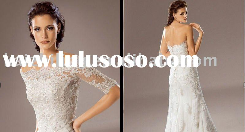 short sleeve lace applique wedding dress& wedding gown&prom gown