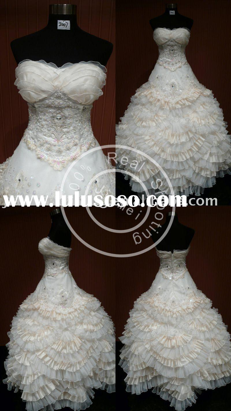 wedding gown appliqued bridal lace fabric marriage dress fairy princess dress vintage clothing