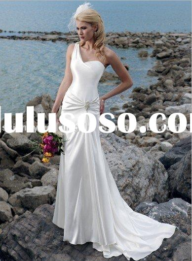 white/ivory one-shoulder stretch satin evening dress prom ball gown free shippping