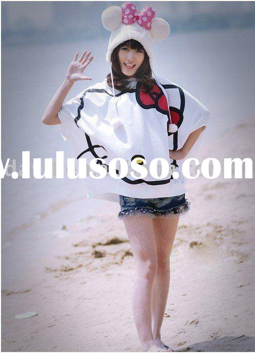 wholesale gao  hello kitty T-shirt poncho fashion Women Clothing Ladies Brouse Apparel garment F0466
