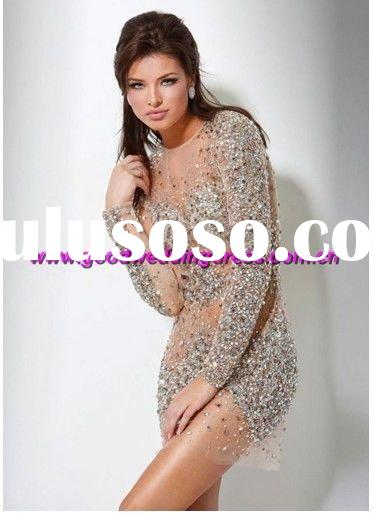 wholesale hot sale full beaded party dress/cocktail dresses/homecoming dresses long sleeve