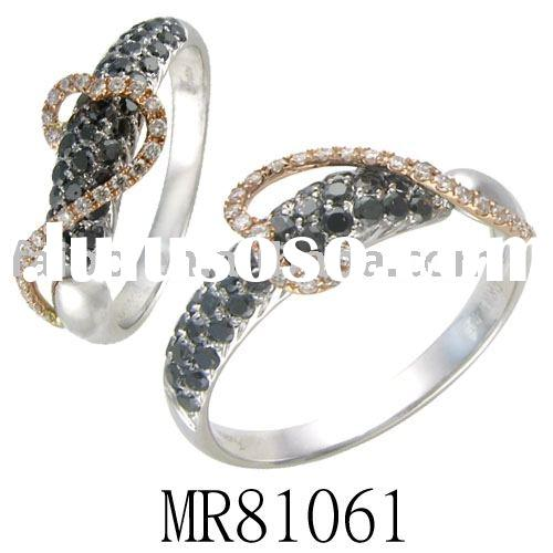 18 carat ring with chocolate,black and white diamonds group for ladies