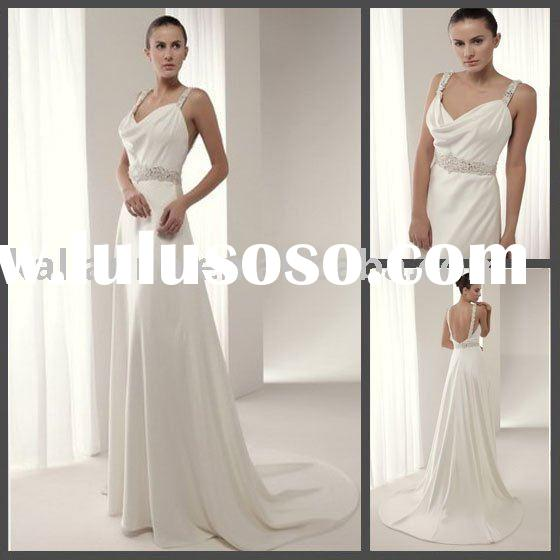 2010 Fall Collection! A-line Spaghetti Strap Empire White Simple Evening dress KLN-3018