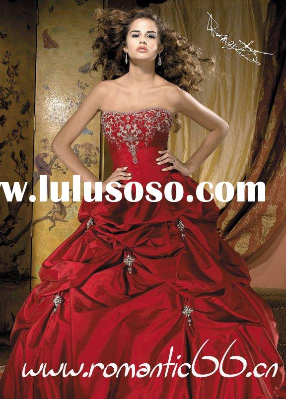 2011 Discount strapless beaded ruffle charming ball gown red bridal gown