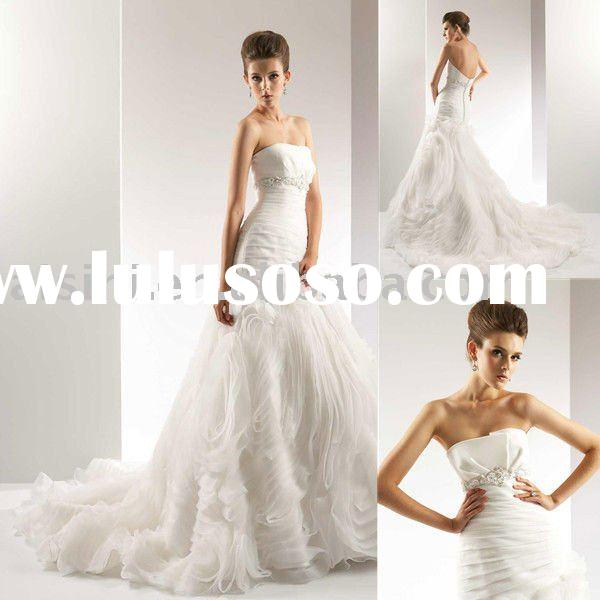 2011 T434 Jasmine Organza Mermaid Bridal Gown Wedding Dresses