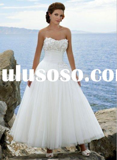 2011 new arrival ankle-length ball gown wedding dress