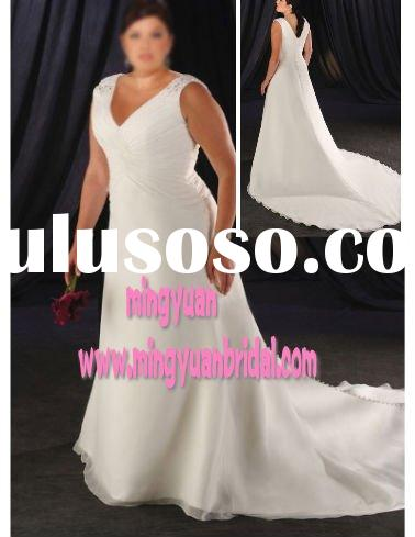2011 plus size white organza wholesale modern trailing bridal dress