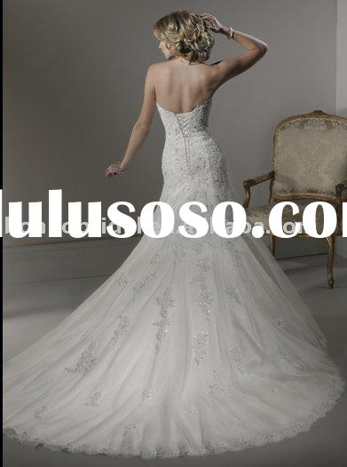 2011 wedding dresses/maggie Beatrice one shoulder satin beads wedding dress free shipping