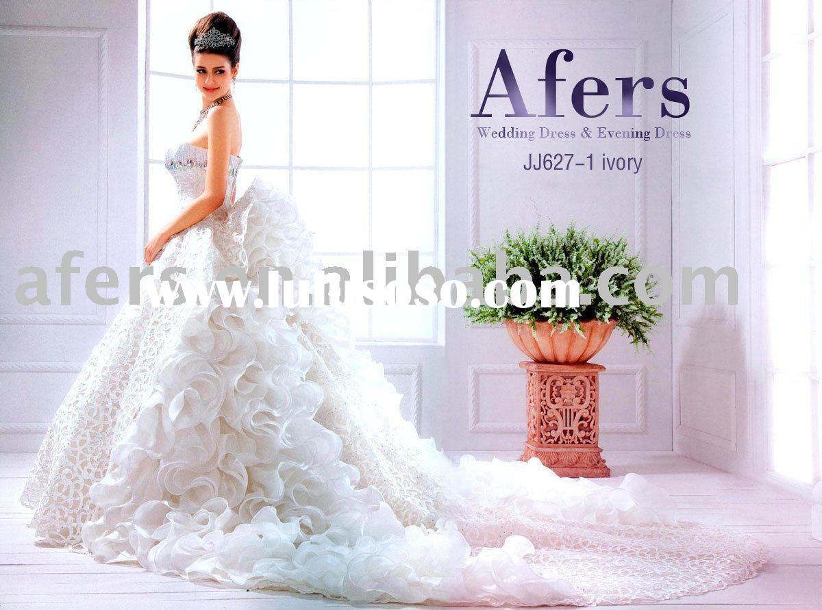 Afers newest Luxury trailing wedding gown,beautiful wedding dress NO.JJ627-1
