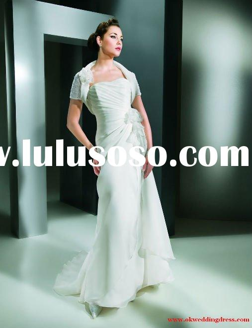 Beach style slim line sheath white organza  2011 designs Cheap wedding clothes