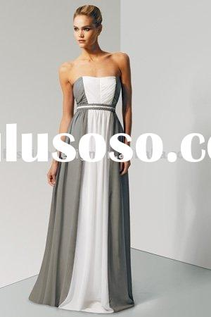 Chiffon Strapless shirred bust braided two tone detail bridesmaid dresses  BD174