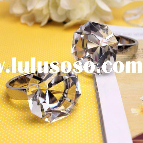 Clear Optical Crystal Diamond with Metal Ring Paperweight