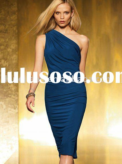 DE-ER2004 Dark Blue Mini One Shoulder Party Dress