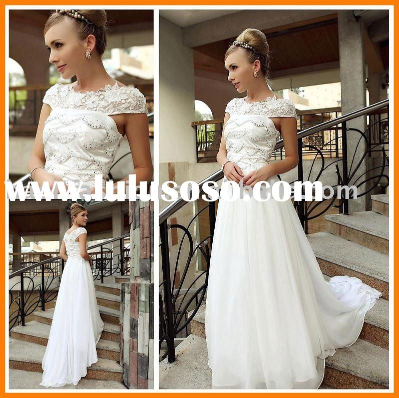 DORIS China wholesale white sweep wedding gown for european