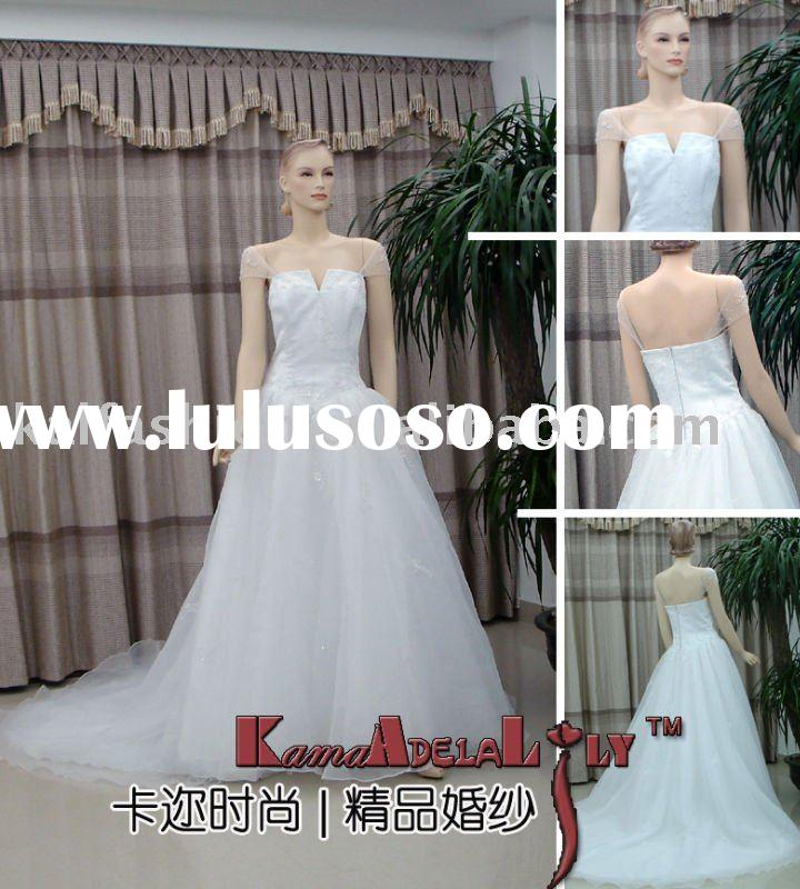 EB075B strapless demountable sleeves bead embroidery dresses fairytale wedding gown wedding dress