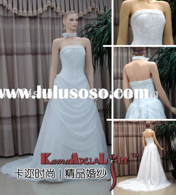 EB085 Modern cinderella satin and organza fabric pleat China wedding gown evening dress