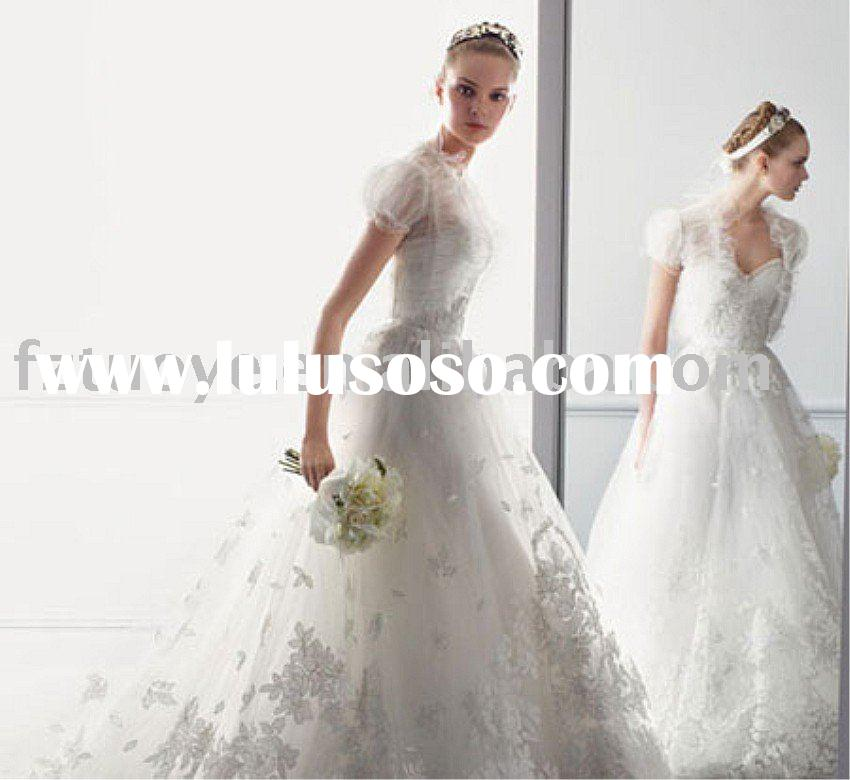 EMCN391              2011 new style tulle jacket  ball gown appliqued lace Wedding Dress