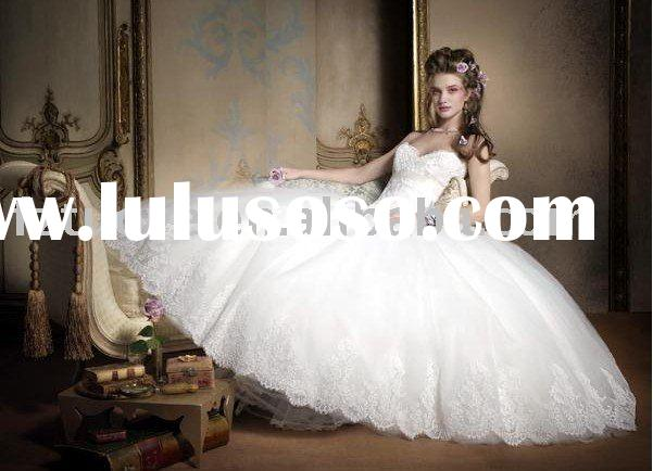FZC650 2011 noble sweetheart neckline lace bodice organza ball gown modest bridal wedding dress