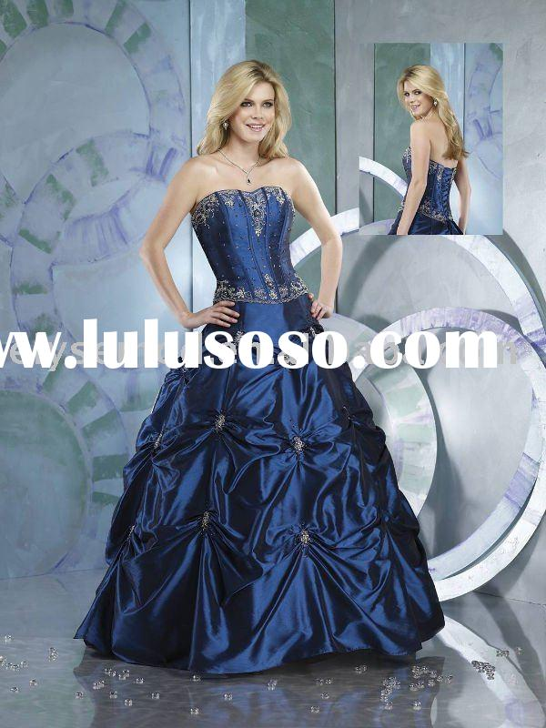 Fashionable Ball Gown Royal Blue Ruffled Wedding Dresses
