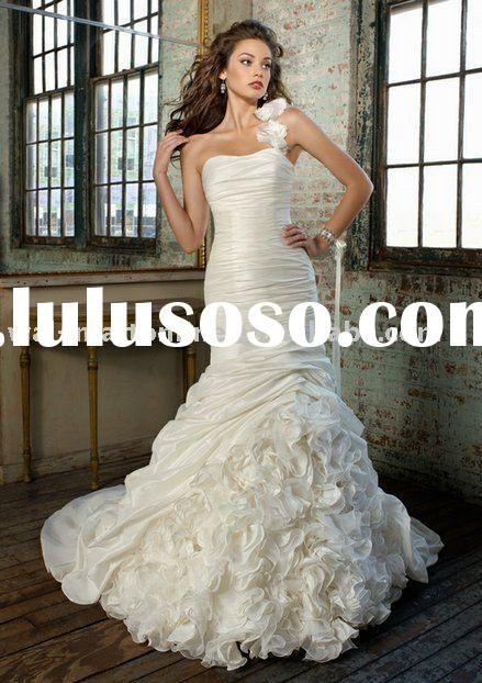Free shipping ML365 2011 design one shoulder Mermaid Bridal Wedding Gown