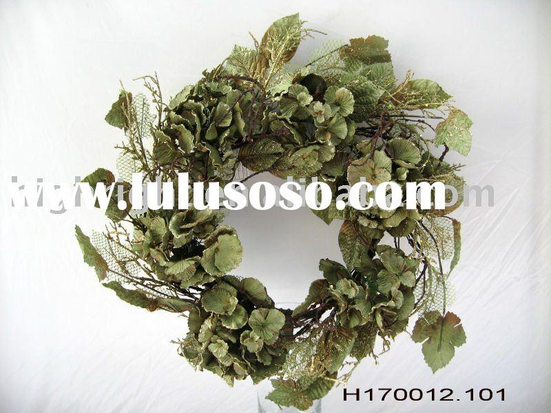 Green artificial flower wreaths