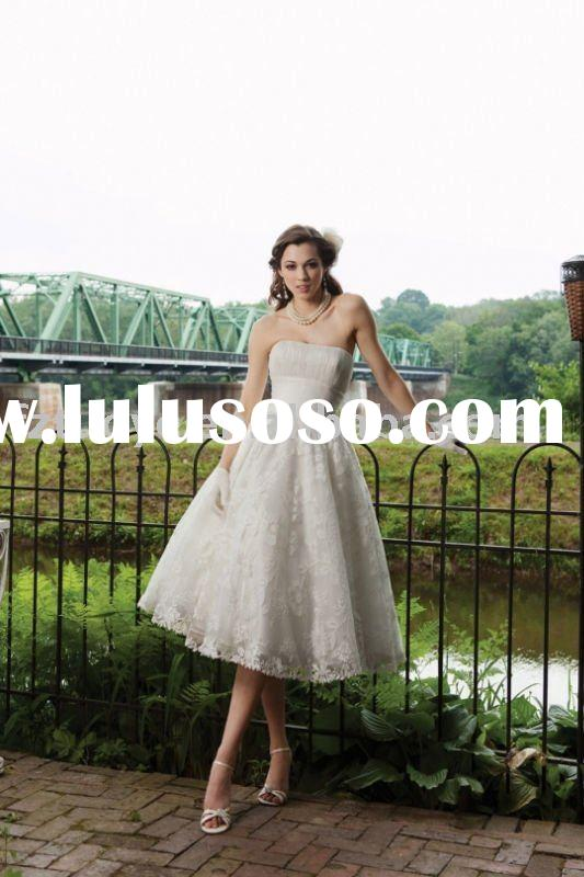 HL00109 2011 Spring Courtlike strapless lace ball gown tea-length wedding dress