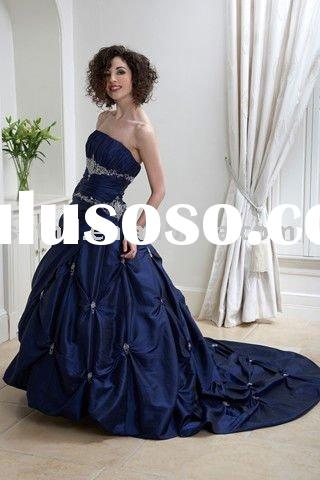 High Quality Royal Blue Taffeta Wedding Dress 2011