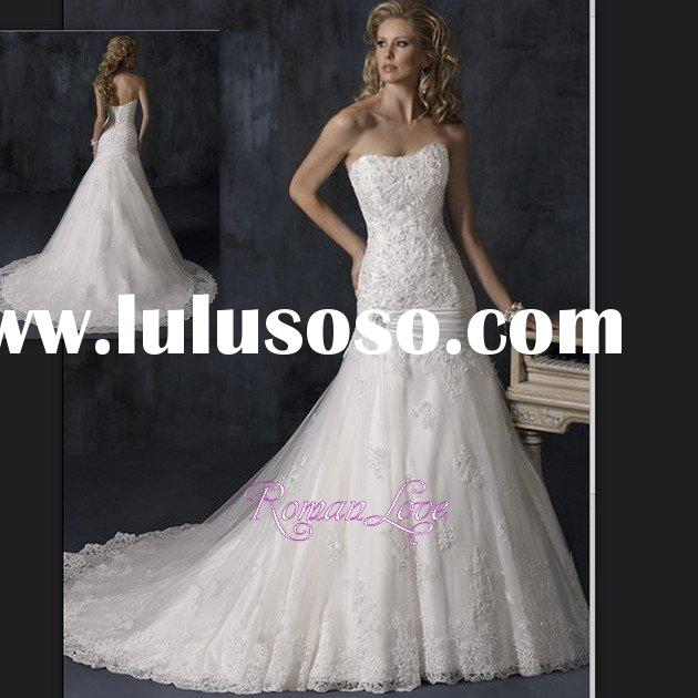 Lace Embroidered Ribbon Sash Plus Size Ball Gown Wedding Dresses