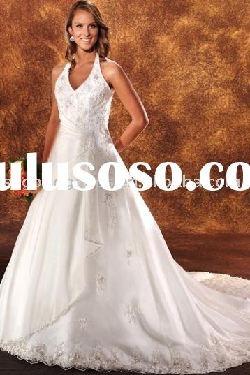 Lace Wedding Gowns/A-Line/Princess Halter Royal Wedding Gowns (GWBNL0075)