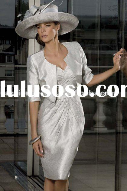 MD012   2011 New styles silver Satin beaded with short sleeves jacket Mother of bride dresses