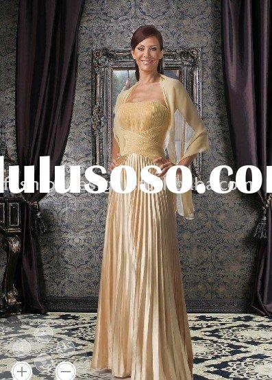 MD421  2011 newest pleats satin mother of bride dress