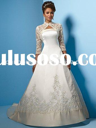 New satin and lace long sleeve wedding dress long sleeve wedding gown long sleeve bridal gownEX043