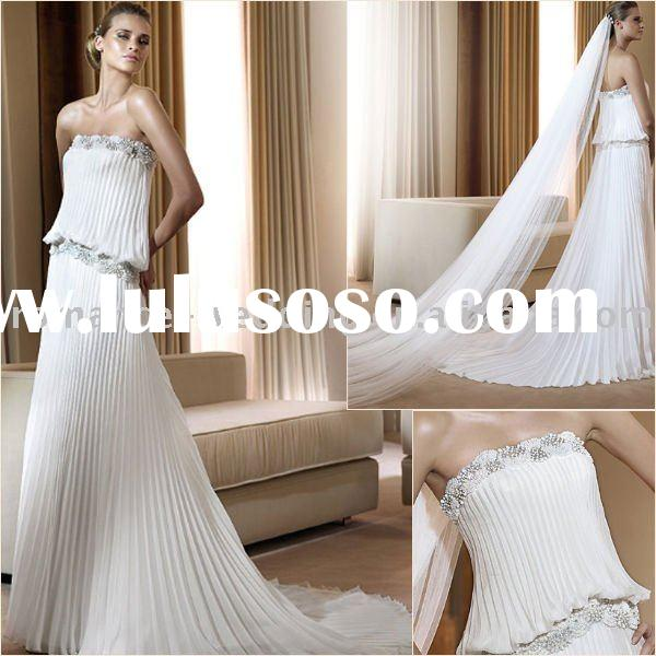 Pr0007 Beautiful Beaded Pleating Chiffon Bridal Gowns