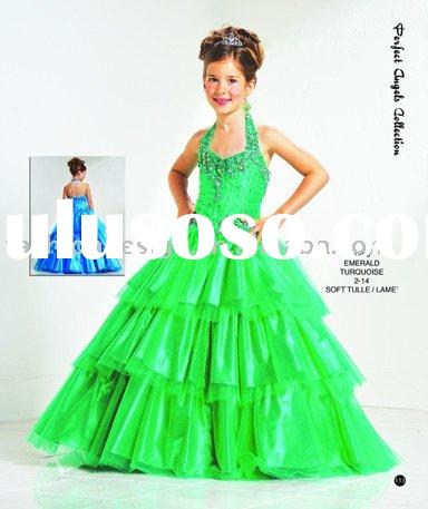 RG003  Pageant emerald little queen children dress Flower girl dresses