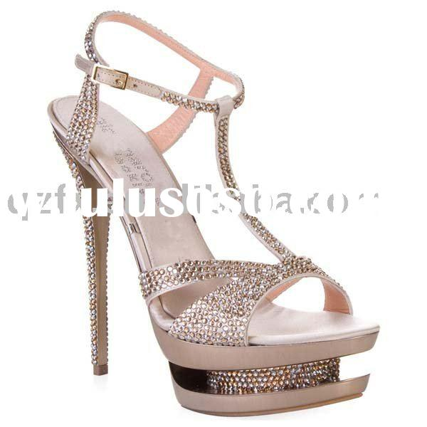 Red sole Crystal wedding shoes , High heel sandals