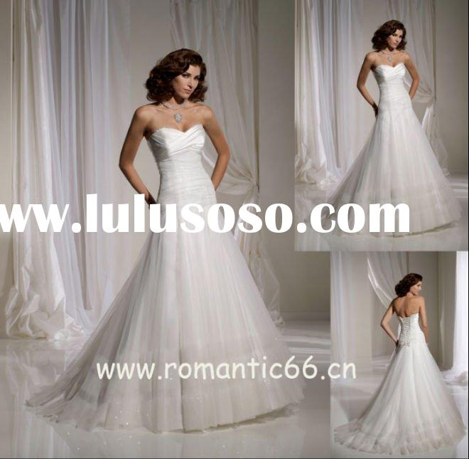 Romantic tulle strapless sweetheart neck designer wedding dresses