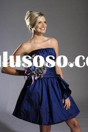 Short/Mini Royal Blue Taffeta Dress for Bridesmaid