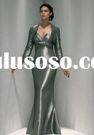 Taffeta long sleeve mother of the bride dress