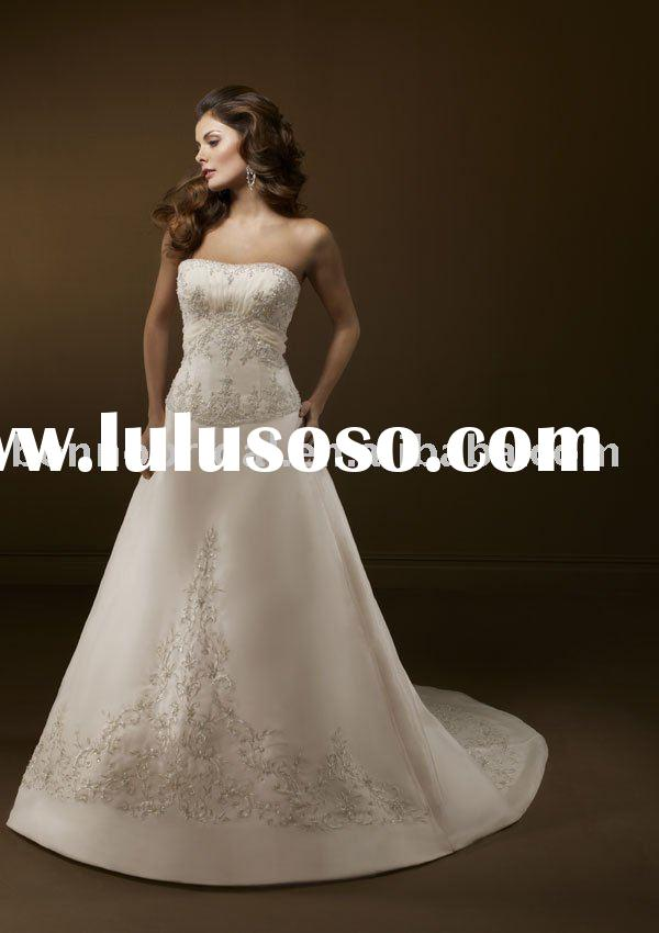 The classic noble embroidery wedding dress/noble bridal gown 2167