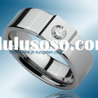 Tungsten Ring with Cubic Zirconia for Wedding