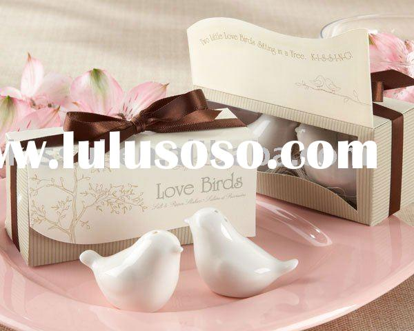 Wedding favors Wedding gift Lovebirds in the Window Ceramic Salt & Pepper Shakers