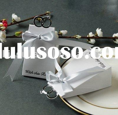 """Wedding favors-""""With this Ring"""" white Elegant Favor Boxes"""