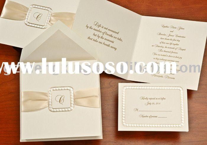 elegant wedding invitation card with ribbon decoration---EA896