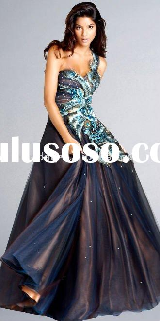 new designed Peacock One-Shoulder Gowns ball gown